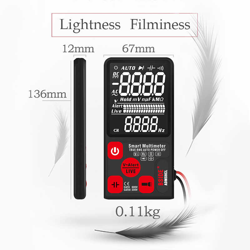 """Ultra taşınabilir dijital multimetre BSIDE ADMS7 S9CL büyük 3.5 """"LCD 3-Line ekran voltmetre DMM AC DC gerilim NCV Ohm Hz test cihazı"""