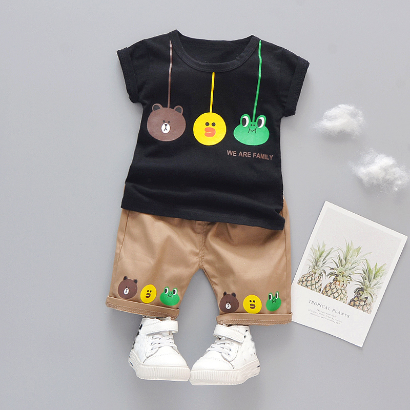 Baby Girls Clothes Boys Summer Cartoon Set Toddler Kids Clothing Cotton White Black T-Shirt Shorts 1 2 3 4 Years Infant Outfits