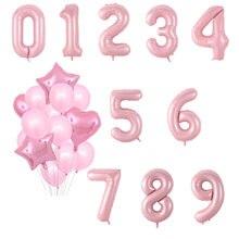 40 pulgadas de globos en forma de números rosas 0 1 2 3 4 5 6 7 8 9 aire Ballon 18 Feliz cumpleaños fiesta material para decoración de boda