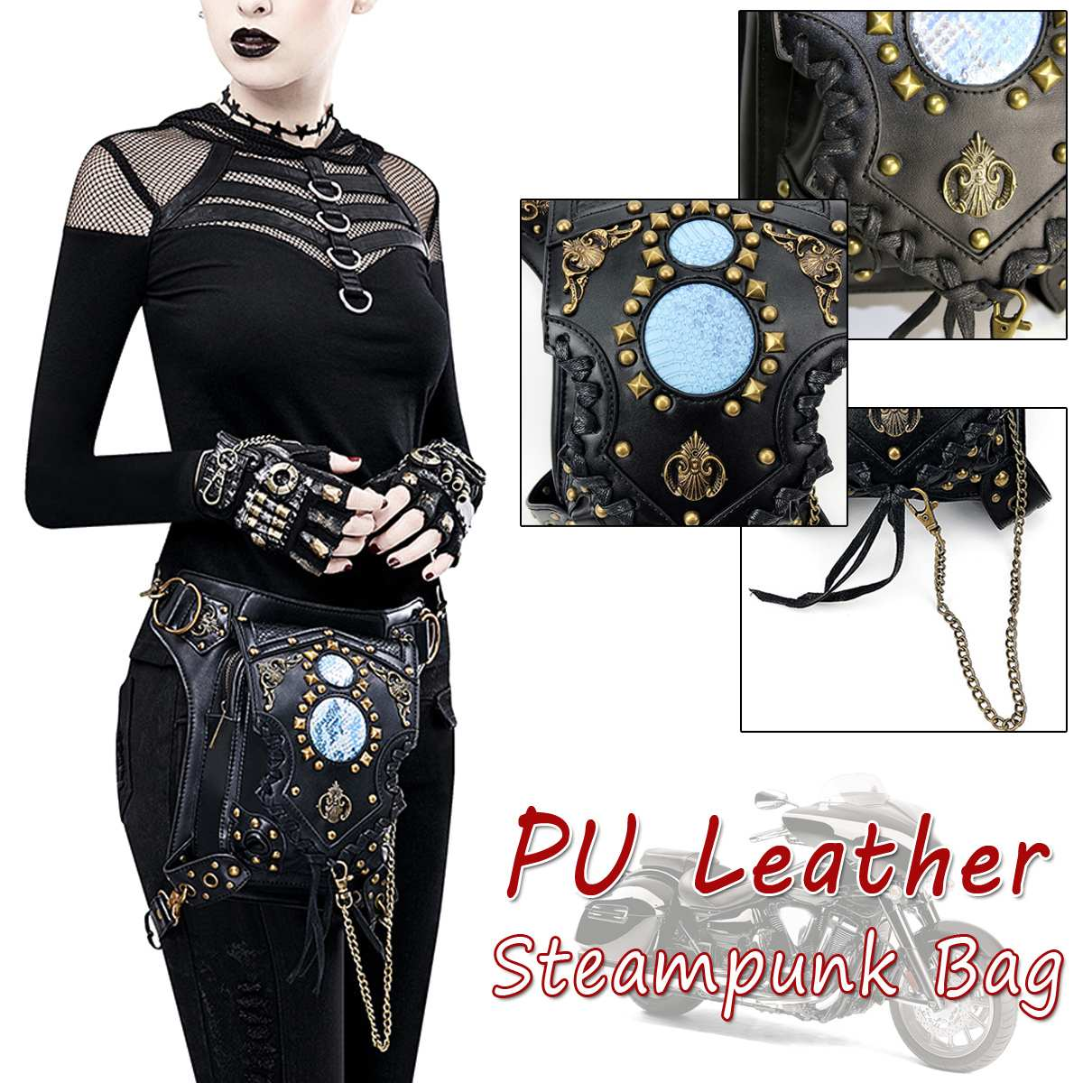 Black Unisex Steampunk Fanny Bag Steam Punk Retro Rock Gothic Bag Goth Shoulder Waist Bags Packs Fashion Motorcycle Leg Bags