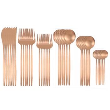 36Pcs Matte Stainless Steel Cutlery Set Dinnerware Gold Knife Fork Dessert Spoon Silverware Kitchen Party Dinner Tableware - China, Rose gold