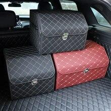 Boîte de rangement en cuir PU, coffre de voiture, organisateur de voiture de qualité supérieure, sac de rangement pliable, boîte de rangement Automobile pour berline SUV MPV