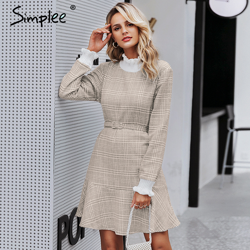 Elegant Camel-Colored Plaid Vintage Style Dress  1