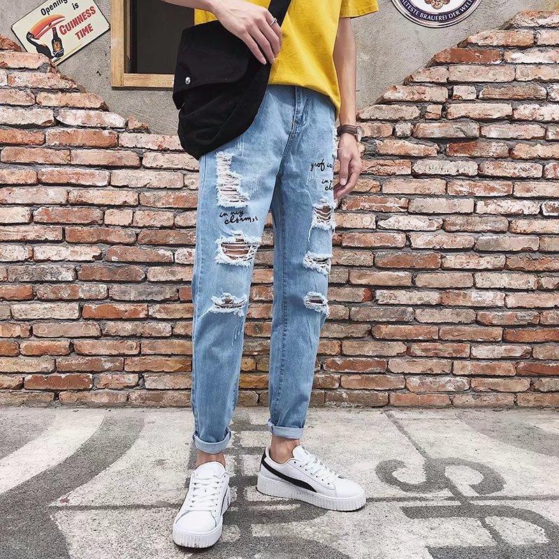 Summer Thin Section With Holes Capri Jeans Men Slimming Korean-style Slim Fit Skinny Pants BOY'S Trend Beggar Pants