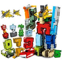 13pcs Puzzle Toys Team Number Robot Digital Deformation Pre-School Education Toy Fidget Toys Learning Transportation Toy kids