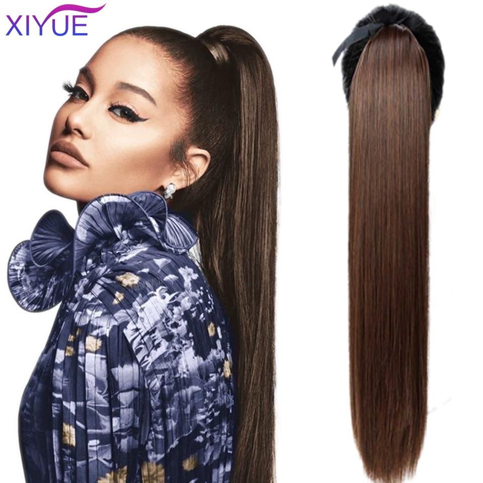 Парик конский длинный прямой из термостойких синтетических волос, 45-85 см