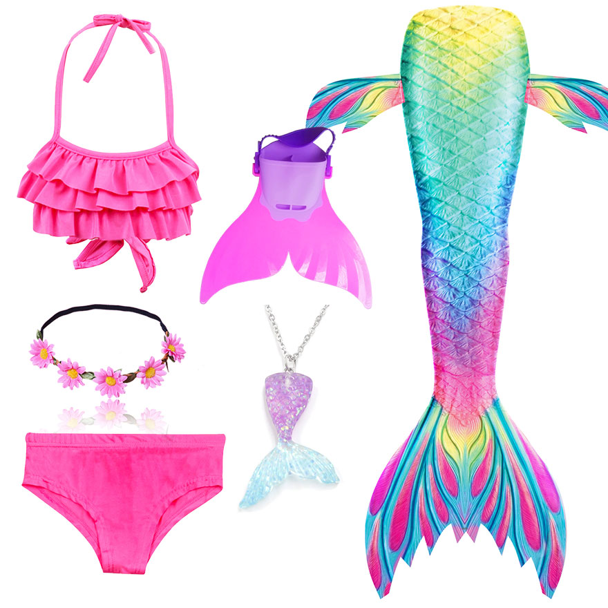 H50b5e14eca664120a38b5cfe72413497y - Kids Swimmable Mermaid Tail for Girls Swimming Bating Suit Mermaid Costume Swimsuit can add Monofin Fin Goggle with Garland