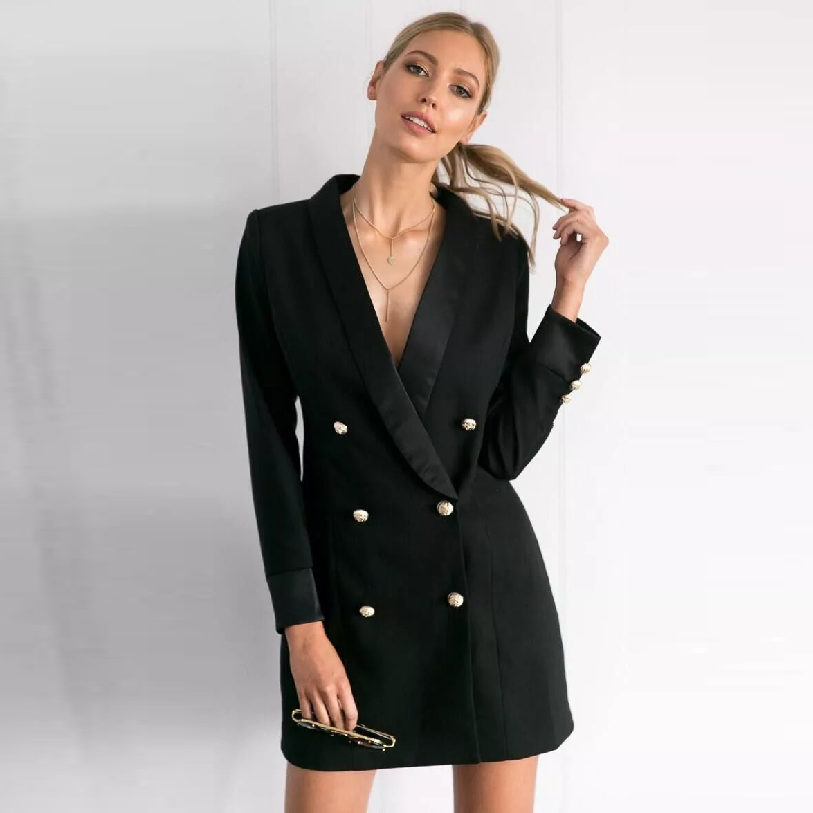 Black Double Breasted Suit Coat Women Autumn Winter 2020 Casual Slim Office Long Jacket Female Vintage blazer Overisized Clothes