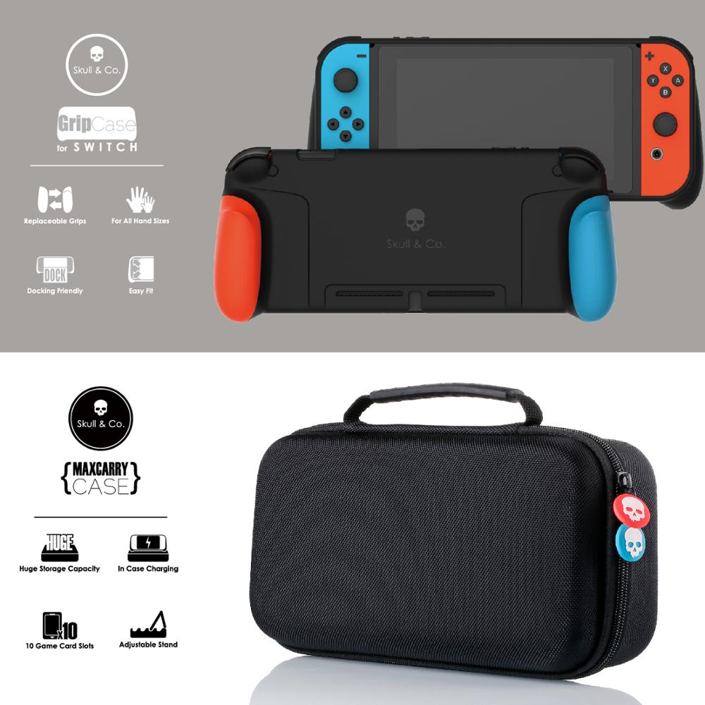 Skull & Co. GripCase Protective Case With Replaceable Grips And MaxCarry Case Carrying Bag For Nintend Nintendo Switch
