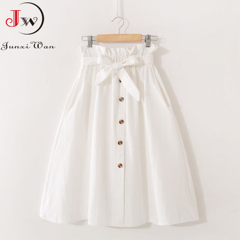 Women Casual Cotton Skirts 2021 Spring Summer Korean Style Solid Elegant High Waist Single-Breasted Bow Lace Up A-Line Midi Skir 2
