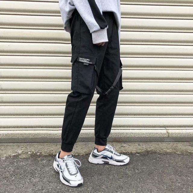 Fitas harem joggers calças de carga dos homens streetwear 2020 hip hop bolsos casuais calças faixa masculina harajuku moda 2
