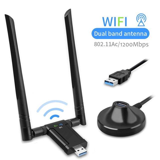 KuWFi 1750Mbps USB Wifi Adapter Dual Band 5dBi Wifi Antenna USB3.0 Wireless Network Card For PC Desktop Lapt