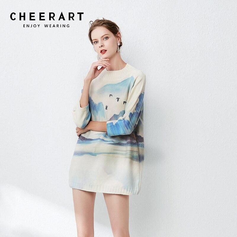Женский трикотажный пуловер с принтом «летучая мышь» Cheerart, Свободный джемпер с высокой горловиной, одежда для осени, 2019|Водолазки|   | АлиЭкспресс