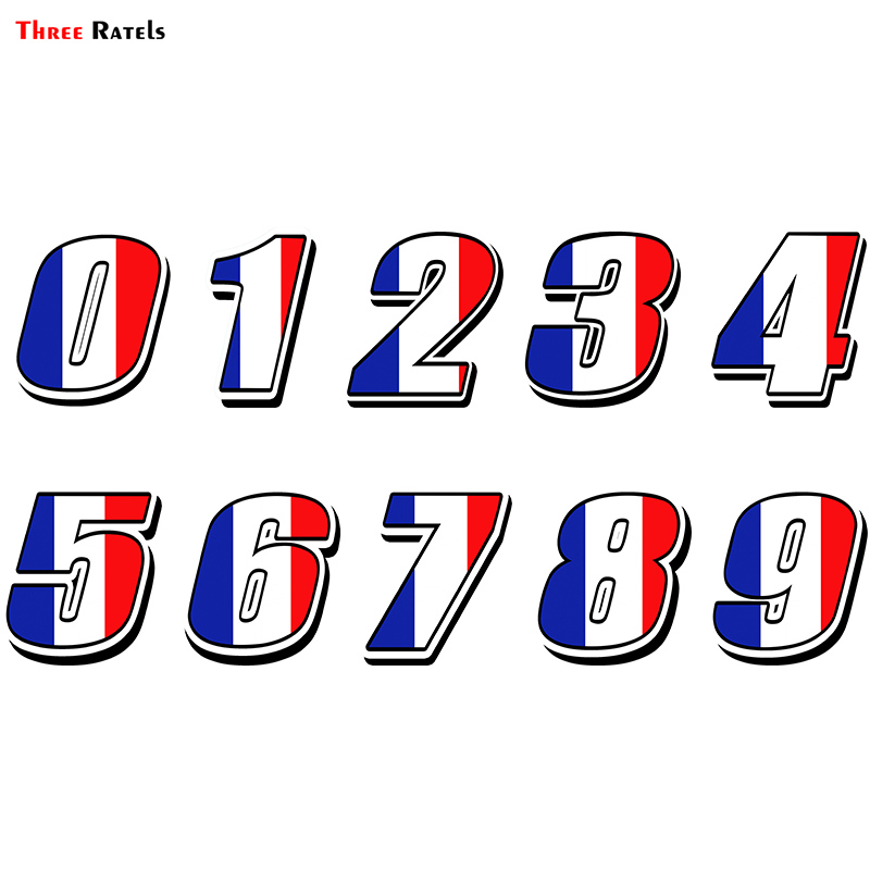 Three Ratels FTC-869# Car Sticker Racing Numbers Vinyl France Flag Stickers Decal Motocross Moto Auto ATV BIKE Decor