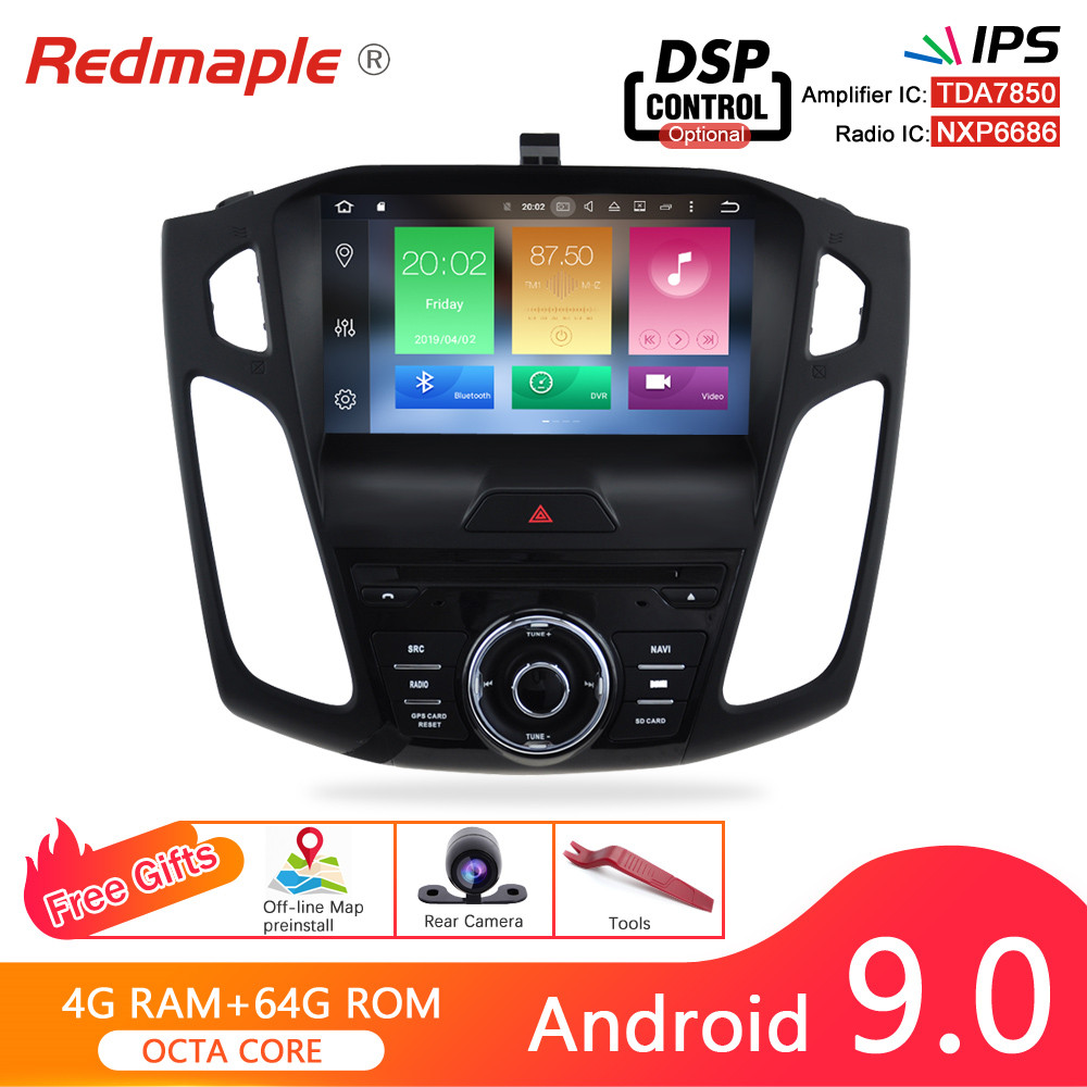 Android 9.0 Car Radio GPS Player For <font><b>Ford</b></font> <font><b>Focus</b></font> 2015 2016 <font><b>2017</b></font> Audio DVD <font><b>Navigation</b></font> Multimedia WIFI Bluetooth Video Stereo image