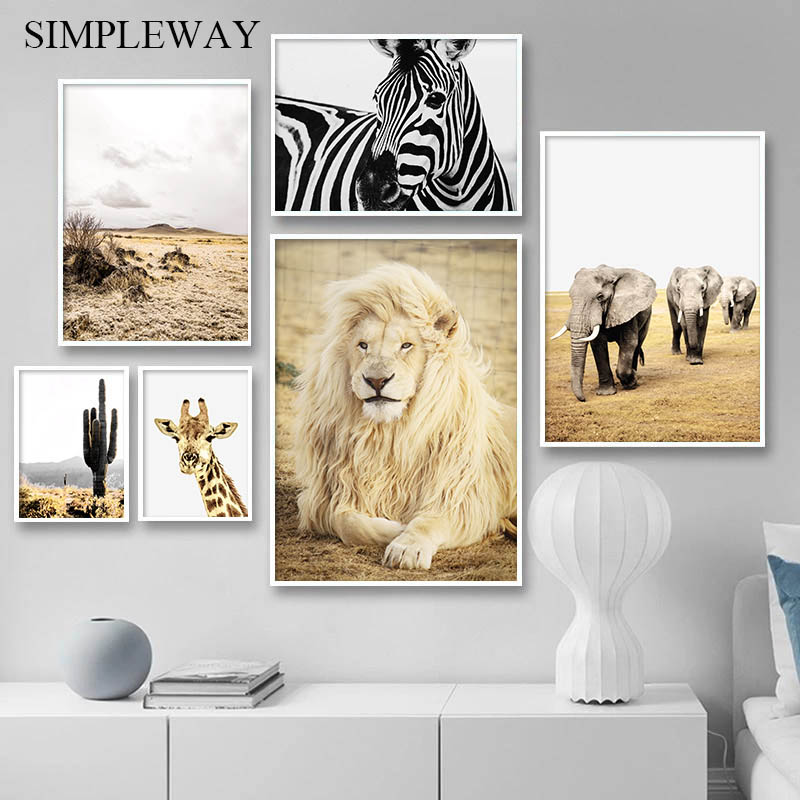 Scandinavian Decoration Picture Animal Nature Landscape Poster Print Lion Giraffe Canvas Wall Art Painting Nordic Home Decor