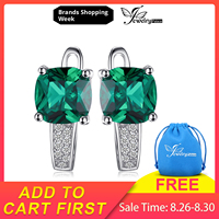 JewelryPalace Cushion 3.1ct Created Nano Russian Emerald Earrings 925 Sterling Silver Earrings Fine Jewelry for Women