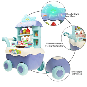 Image 2 - Funny Supermarket Shopping Pretend Play Kitchen Toy for Girls Children Educational Toys Ice Cream Cart with Light and Music