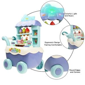 Image 2 - Śmieszne zakupy w supermarkecie udawaj, że bawisz się zabawka kuchenna dla dziewczynek zabawki edukacyjne dla dzieci wózek na lody ze światłem i muzyką