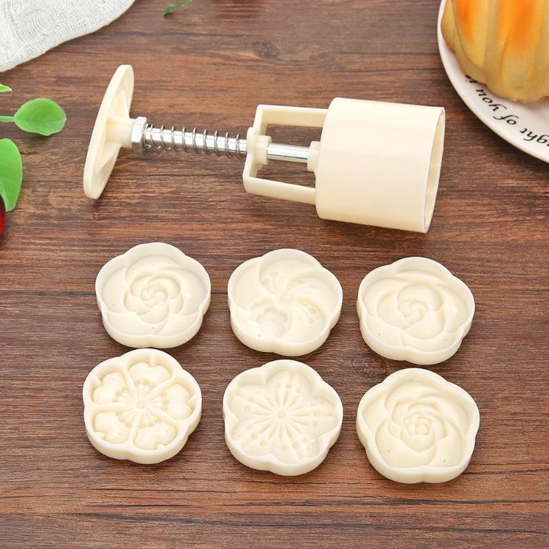 8/6 adet/takım Mooncake kalıp kek çiçekler baskı el basın pasta kek piston kurabiye kesici orta sonbahar festivali pişirme aracı