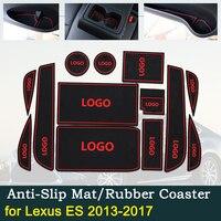 Anti-slip Porta Copo Almofada de Borracha para Lexus ES 2013 ~ 2017 Sulco ES250 ES300h ES350 XV60 250 300h 350 Vermelho Acessórios Do Carro Mat