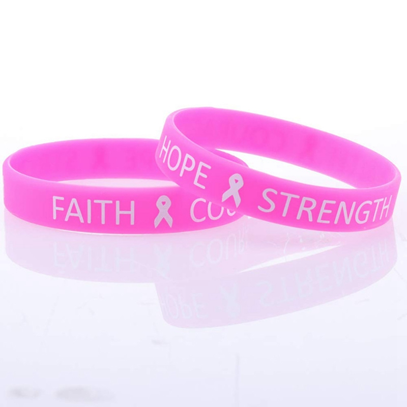 Trendy Breast Cancer Awareness Bracelets Pink Ribbon Camo Silicone