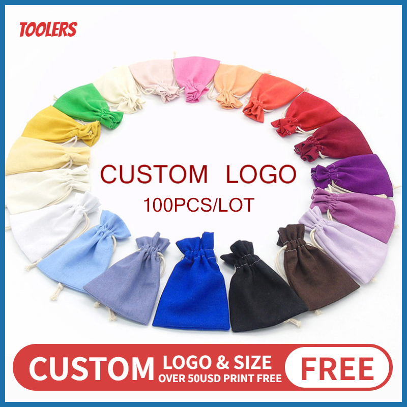 100ps/lot 7x10/10x13/13x18cm Cotton Linen Drawstring Bag Jewelry Makeup Wedding Party Christmas Gift Packaging Pouch Custom Logo