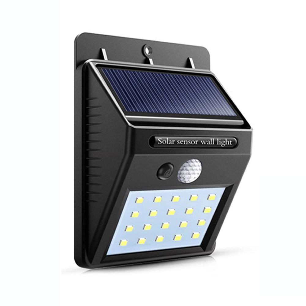 Impermeable 20 Luces Solares LED Sensor de movimiento luz de pared al aire libre jardín patio lámpara