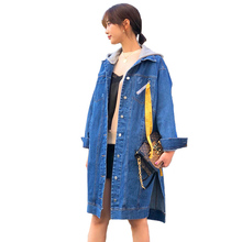 2019 Spring Autumn Plus size 4XL Denim Trench Coat Women Hooded Jeans Outerwear