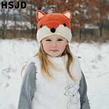 Skullies Hat Beanies Animal-Caps Girl Winter Kids Children Gift Fox Boy Cute Crochet