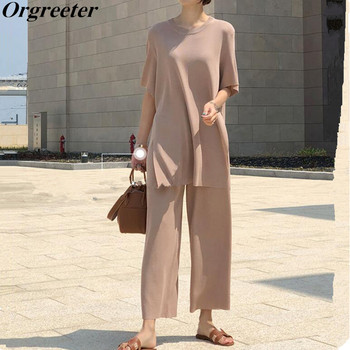Fashion Temperament Ice silk Knitted Two piece Casual set Women Long Pullovers Tops and wide-leg pants Suits High Quality