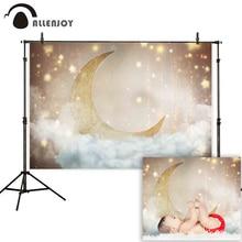 Allenjoy photophone fotografie achtergrond gold moon sky sterren cloud nieuwe geboren baby douche achtergrond photocall fotoshoot studio