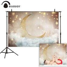 Allenjoy photophone photography backdrop gold moon sky stars cloud new born baby shower background photocall photo shoot studio