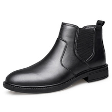 2019 black men leather shoes pointed toe dress high quality formal slip on Leather High Top Winter Boots *Z08539
