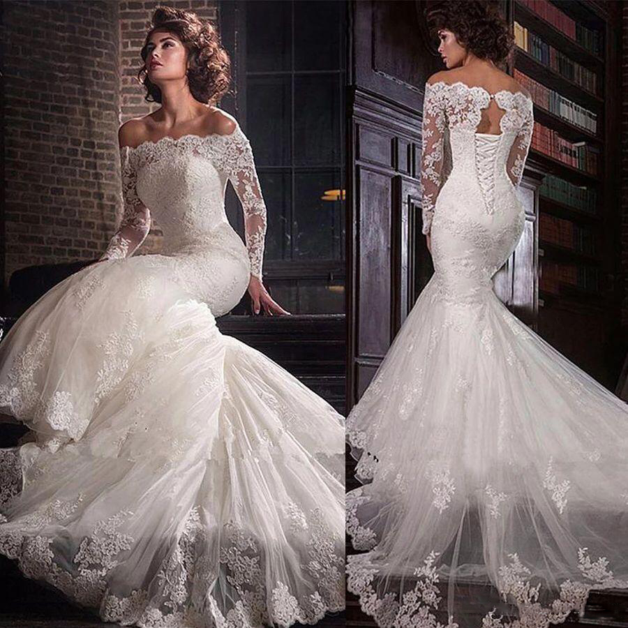 2020 Bateau Long Sleeves Mermaid Wedding Dresses Slim Fishtail Bridal Gowns Lace Up Back Long Custom Beach Wedding Plus Size
