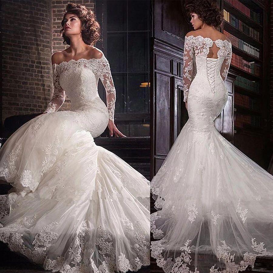 2020 Bateau Long Sleeves Mermaid Wedding Dresses Slim Fishtail Bridal Gowns Lace Up Back Long Custom Beach Wedding Plus Size