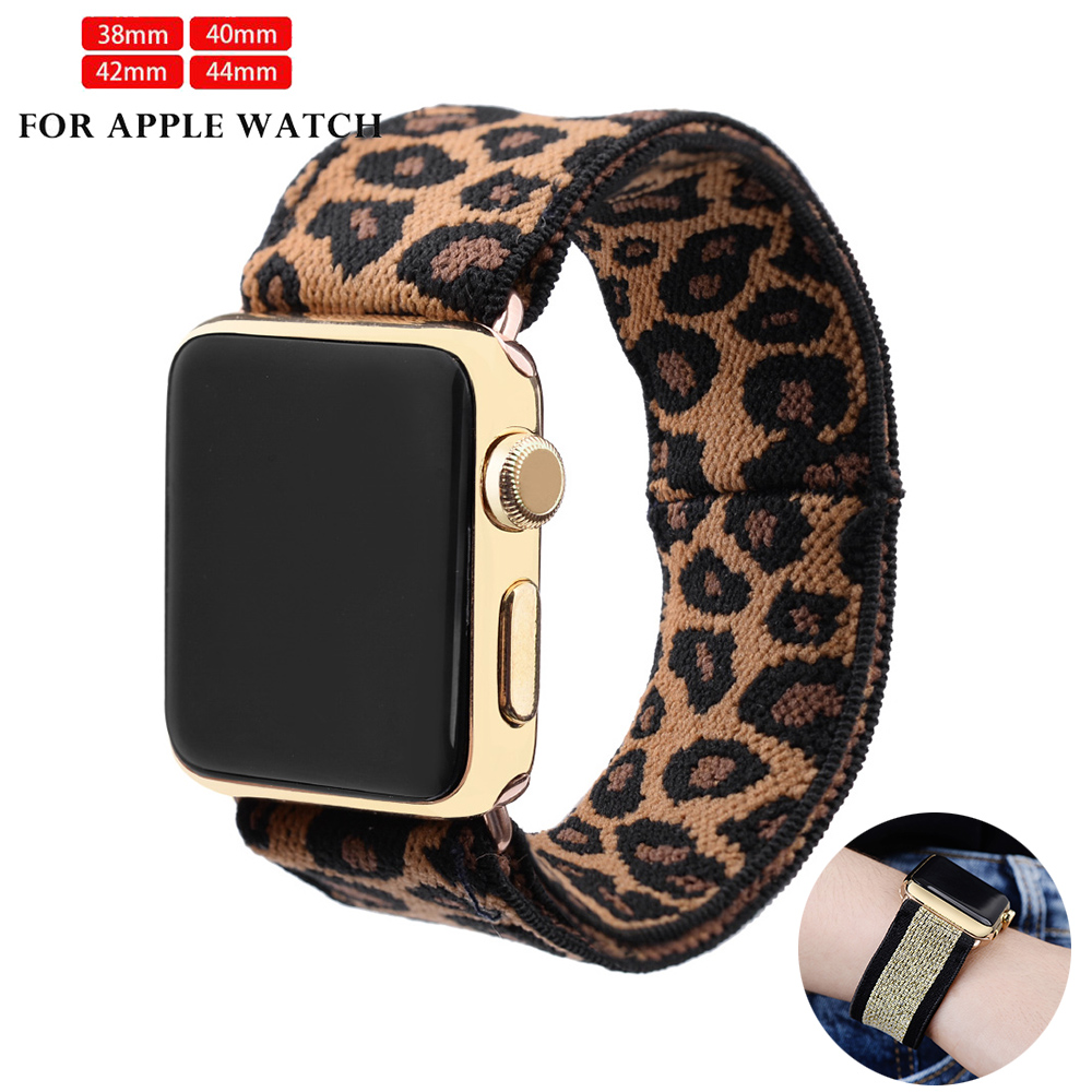 Leopard 38 40 42 44mm For Iwatch 5 4 3 2 1 Scrunchie Elastic Watch Cheetah Band For Apple Watch Series 5 4 3 2 Strap Belt Wrist