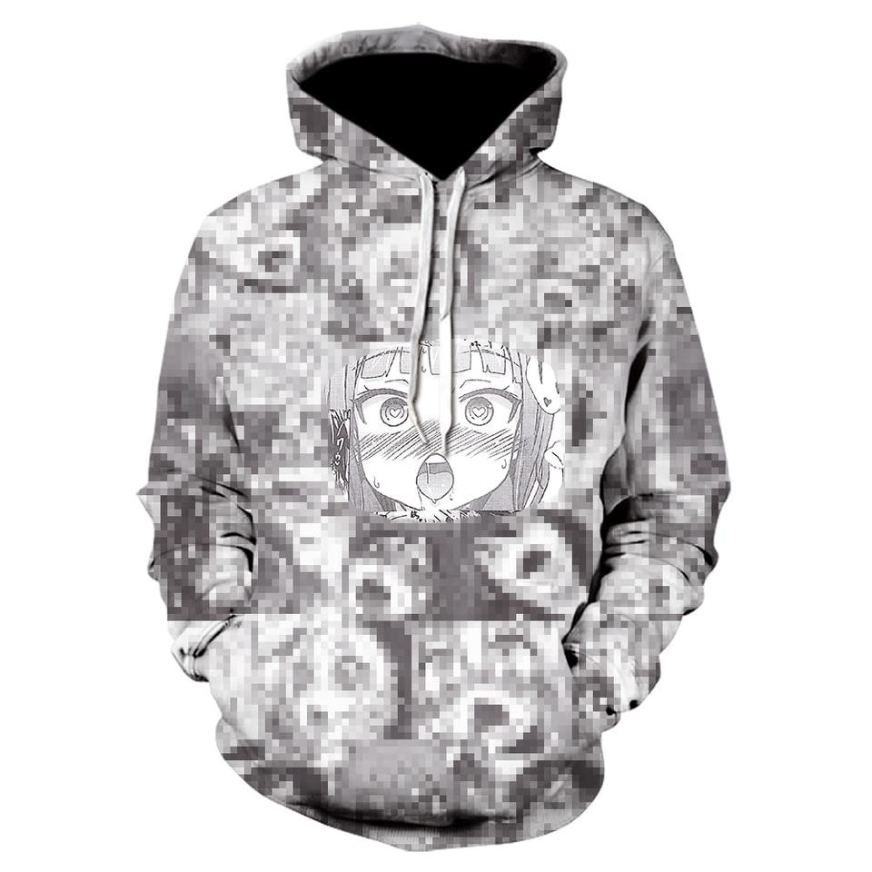 Ahaego sweaty face ahegao 3d print winter anime casual hoody sweatshirt men  tracksuit hoodies pullover streetwear jacket dropship