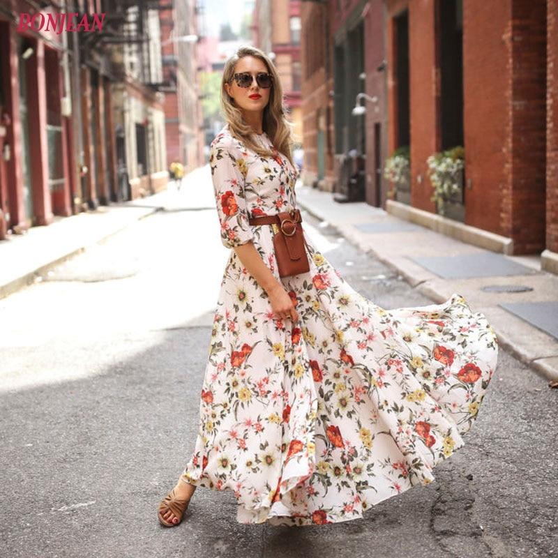 2019 Women's Maxi Boho Tunic Loose Casual Dress Floral Print Summer Beach Evening Party Long Sundress Boho Floral Long Dress