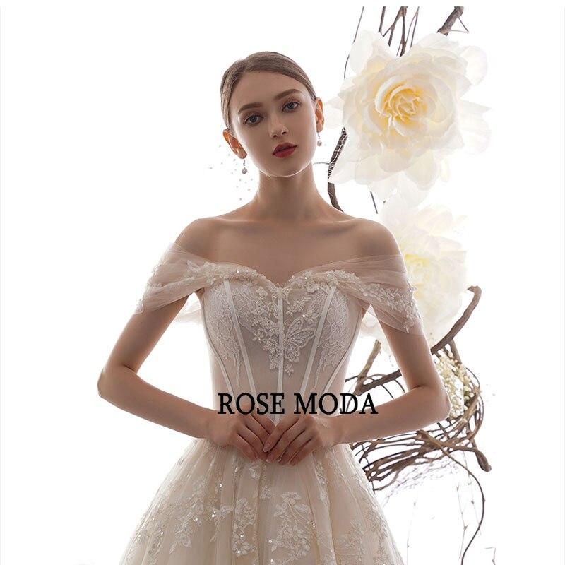 Image 4 - Rose Moda Off Shoulder Lace Wedding Dress 2020 Lace Up Back Custom MakeWedding Dresses   -