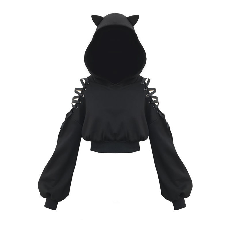 NiceMix 2020 Spring Women Hoodies New Off-shoulder Strap Cute Cat Ear Hooded Sweatshirtr Women Long Sleeve Solid Thin Pullover F