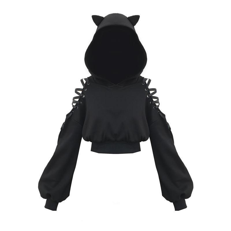 NiceMix 2020 Spring Women Hoodies New Off-shoulder Strap Cute Cat Ear Hooded Sweatshirtr Women Long Sleeve Solid Thin Pullover F