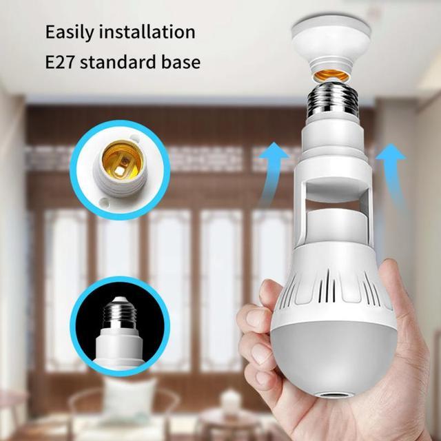 360° Panoramic Wifi Camera E27 Light Bulb HD 1080P Security IP Camera Baby Pet Monitoring Good LED Light Effect Lighting 1