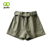 GOPLUS Summer High Waist Wide Leg Shorts With Belt Korean Fashion Cotton Loose Khaki Black Army Green C8954