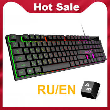 Wired Gaming Keyboard Mechanical Feeling Backlit Keyboards USB 104 Keycaps Russian Keyboard Waterproof Computer Game Keyboards - DISCOUNT ITEM  26% OFF All Category