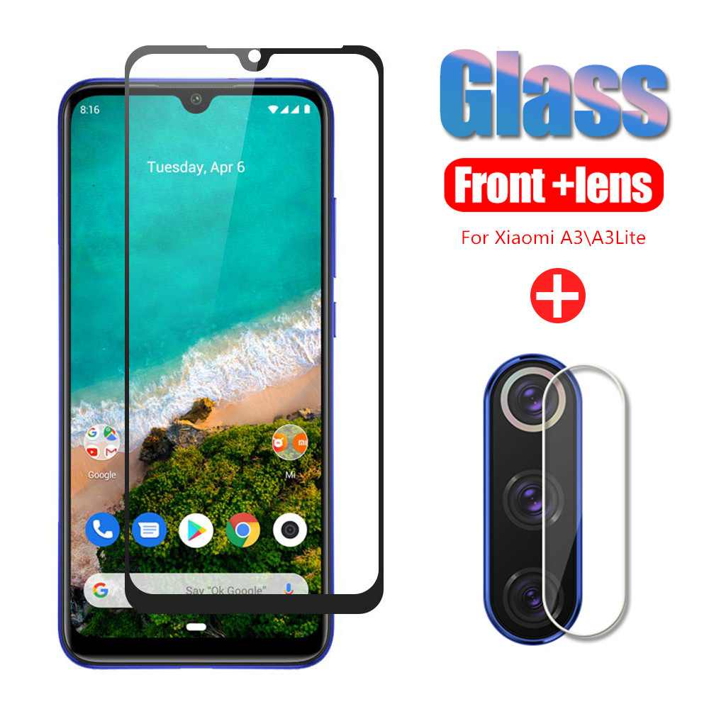 2 in 1 Tempered Glass For Xiaomi Mi A3 A2 9Lite Camera Lens Film Mi9T Cover Screen Protector For xiaomi MiA2 MiA3 CC9 Full Glass(China)