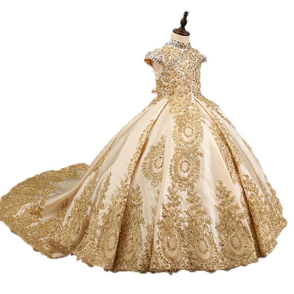 Платья для девочек с золотыми бусинами и цветами для свадьбы, модное платье для конкурса, кружевные платья без рукавов с аппликацией для свя...