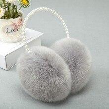 Hair-Ear-Bag Earmuffs Pearl-Guard Plush Winter Keep-Warm Rabbit Muzzle Fur Female Lovely