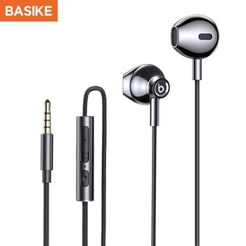 BASIKE uniwersalne słuchawki sportowe słuchawki douszne z mikrofonem słuchawki douszne HIFI słuchawki basowe słuchawki muzyczne dla Xiaomi Huawei OPPO tanie i dobre opinie Dynamiczny CN (pochodzenie) Przewodowy Do Internetu Bar Do Gier Wideo Wspólna Słuchawkowe Dla Telefonu komórkowego Słuchawki HiFi