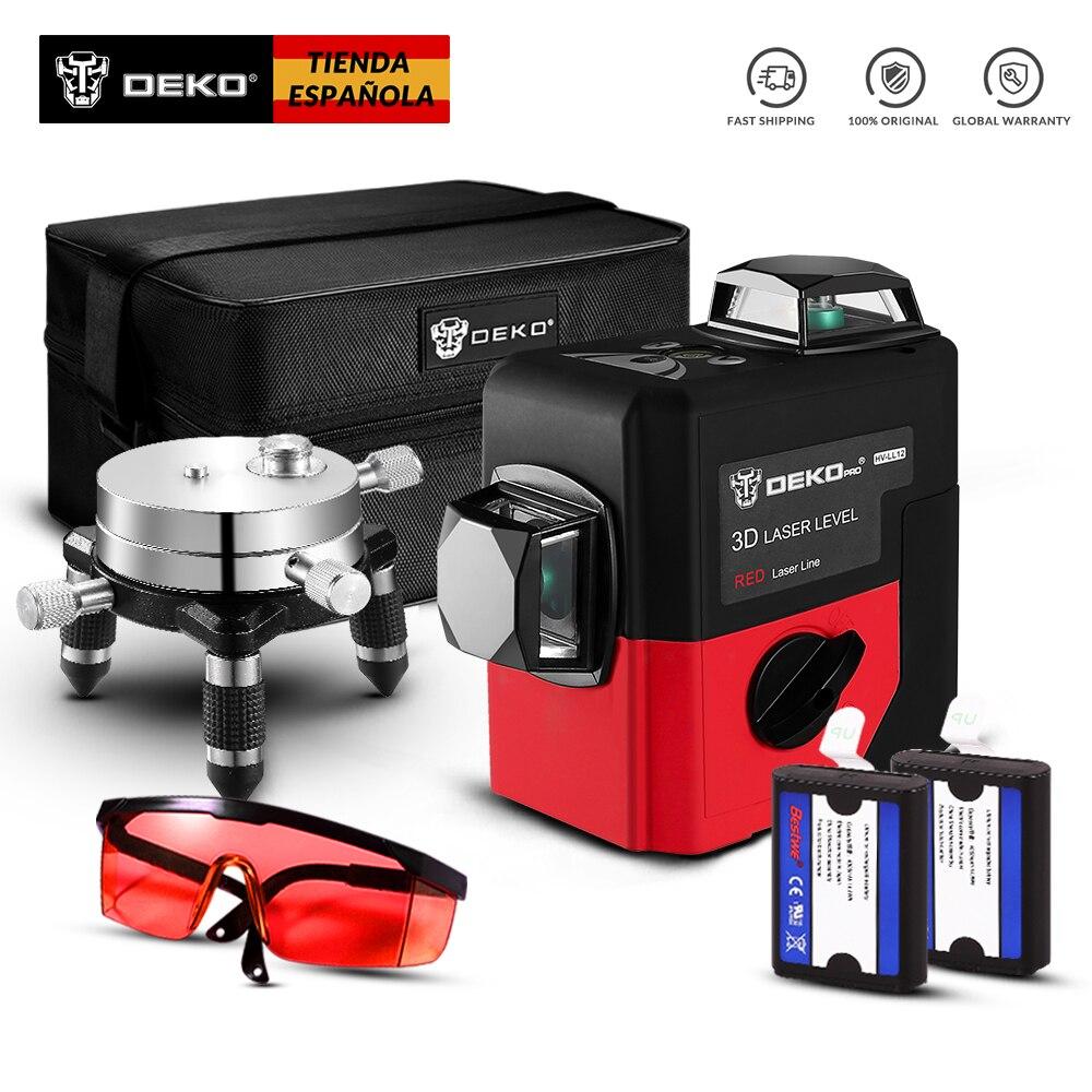 DEKO Original LL12-HV 12Lines 3D Laser Level Self-Leveling 360 degre Horizontal & Vertical Cross Outdoor can use Detector